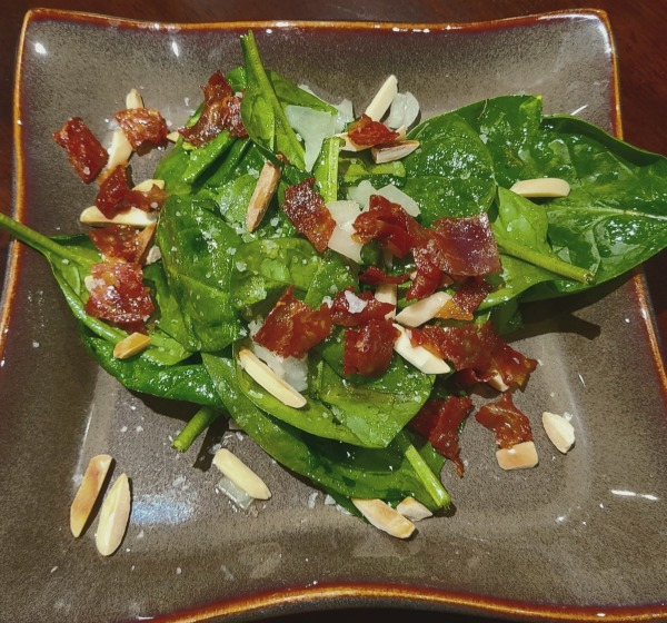 Image of Spinach Salad with Peach Balsamic and Walnut Oil