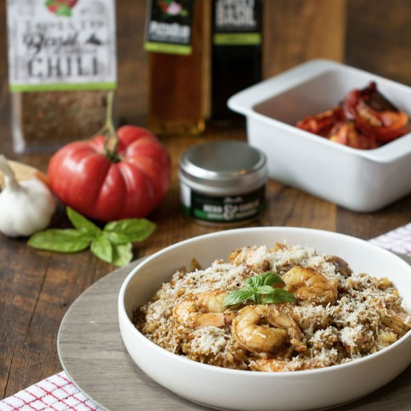 Image ofTOMATO BASIL AND CALABRIAN CHILI RISOTTO WITH SHRIMP