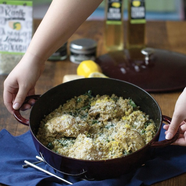 Image of Asiago Lemon Spinach Risotto with Braised Chicken Thighs