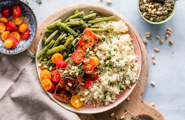 Image of Salmon with couscous and spinach