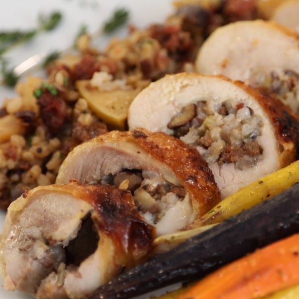 Image of  Roasted Capons with Wild Rice and Chestnut Stuffing