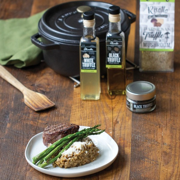 Image of Parmesan Truffle Wild Mushroom Risotto with Grilled Steak and Asparagus