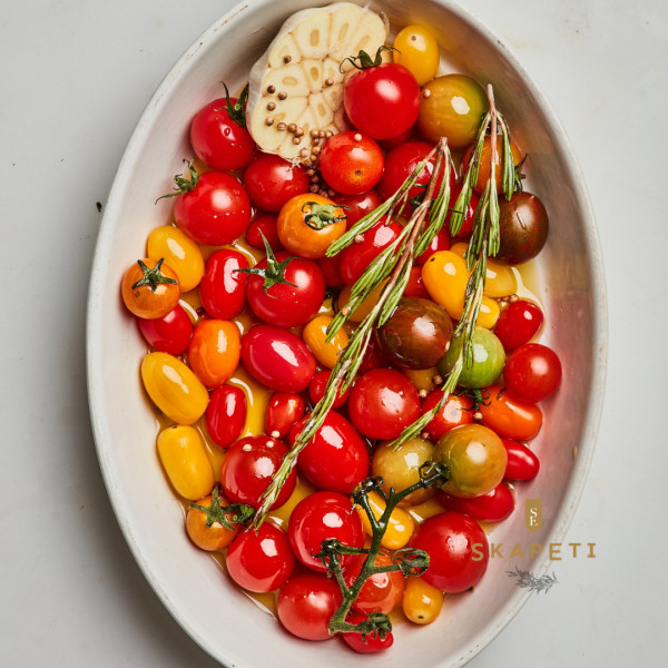 Image of Slow-Roasted Cherry Tomatoes with Coriander and Rosemary