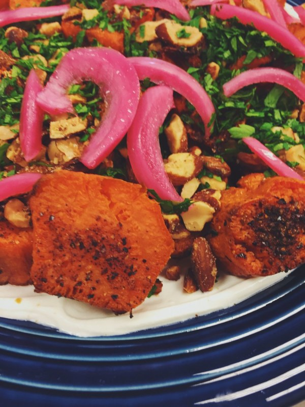 Image of Roasted Sweet Potatoes with Lebne and Smoked Almonds (aka Cowboy Sweet Potatoes)