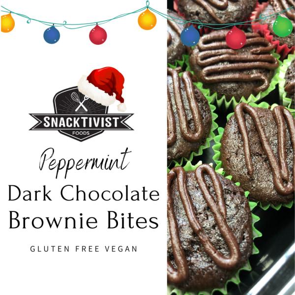 Image of Dark Chocolate Brownie Bites with Peppermint Ganache (Gluten-free, egg-free, dairy-free)