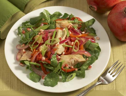 Image ofArtichoke Salad with Greens and Pomegranate