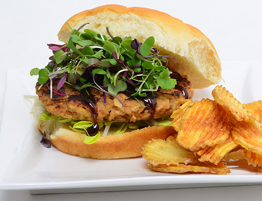 Image ofAsian Chicken and Rice Burgers with DYP Chips