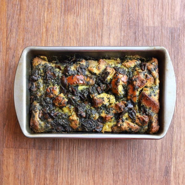 Image of Blackened Spinach Bread Pudding