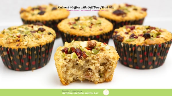 Image of Oatmeal Muffins with Goji Berry Trail Mix