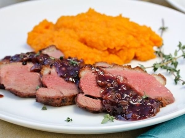Image of Pan Seared Duck Breast with Savory Blackberry Sauce