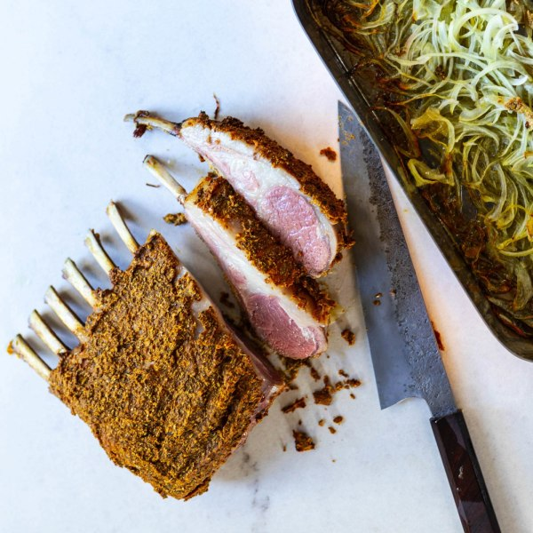Image of Fennel & Coriander Crusted Rack of Lamb with Caramelized Onions