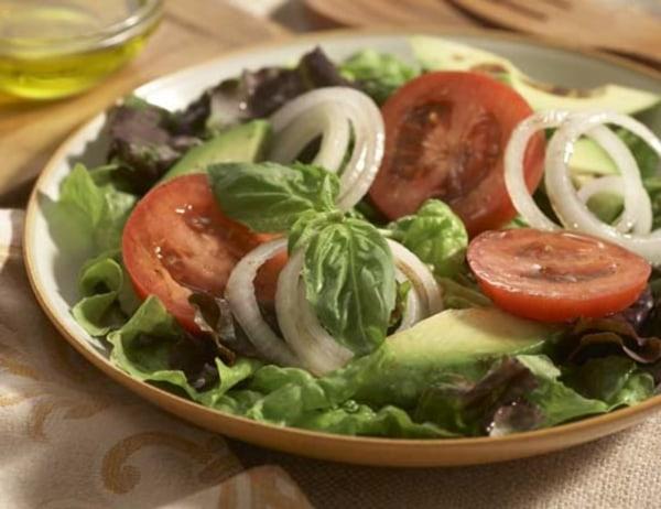 Image of Avocado, Maui Onion and Organic Tomato Salad with a Basil Vinaigrette