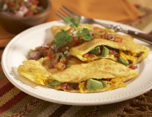Image of Bacon Avocado and Cheese Omelets with Tomato Salsa