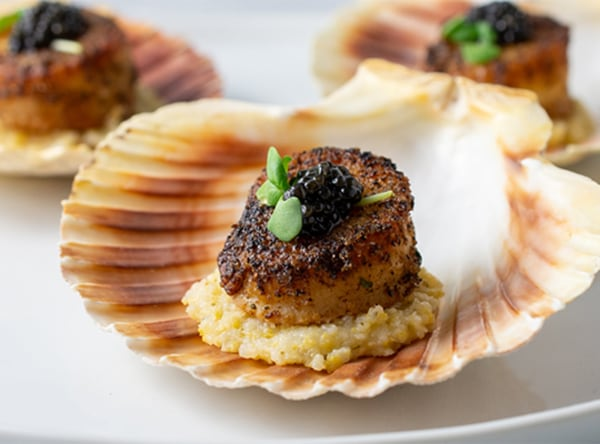 Image of Pan Seared Scallops with Creamy Italian Polenta and Caviar
