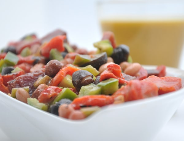 Image of Bean, Artichoke and Beet Salad with Roasted Green and Red Chile Vinaigrette