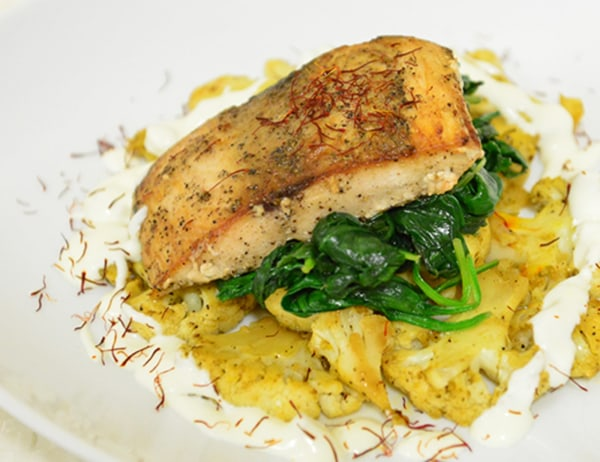 Image of Black Cod with Saffron Roasted Cauliflower, Spinach and Ginger Crème Fraîche