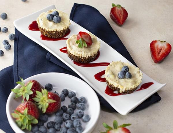 Image of Peach, Blueberry & Strawberry Mini Cheesecakes