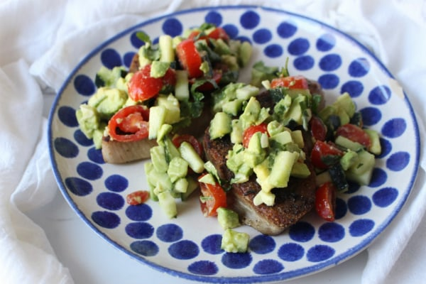 Image ofKeto Tuna Steaks With Fresh Avocado Cucumber Salsa