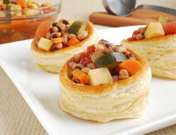 Image of Blackeyed Pea Stew in Puff Pastry Cups