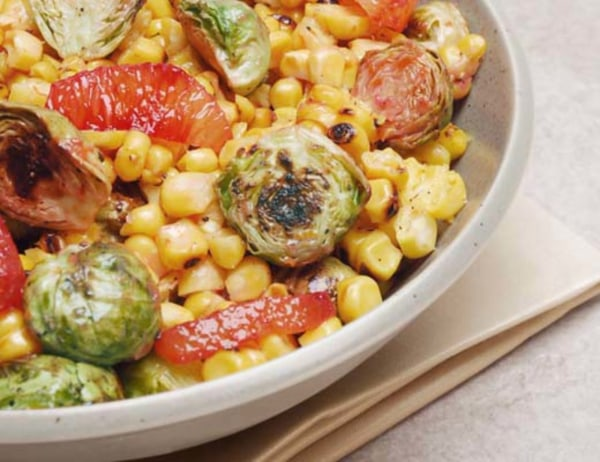 Image of Blood Orange Glazed Roasted Brussels Sprouts and Grilled Corn Toss