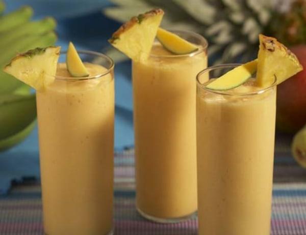 Image of Pineapple, Strawberry Papaya, and Manzano Banana Batido