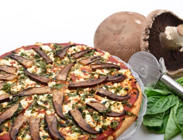 Image of Pizza with Marinated Portobello Mushrooms in California Blend Olive Oil