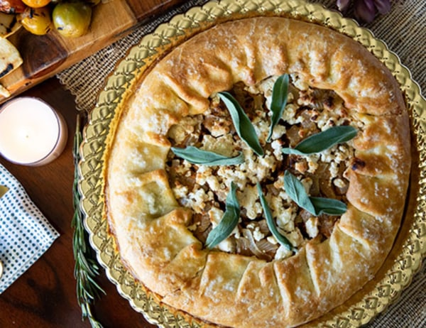 Image of Brown Butter Pumpkin Galette With Caramelized Onions, Goat Cheese and Sage