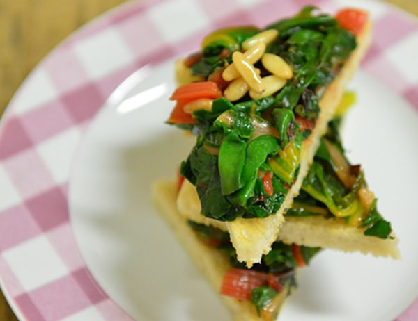 Image ofBruschetta with Swiss Chard, Pine Nuts and Currants