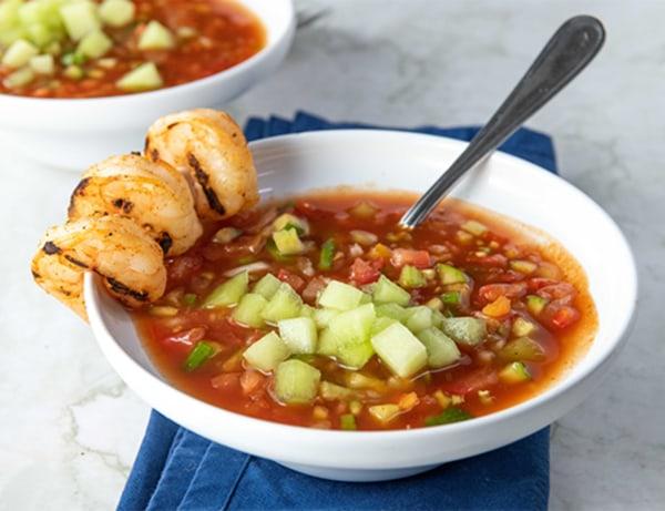 Image ofLemon Drop Melon Gazpacho with Grilled Shrimp