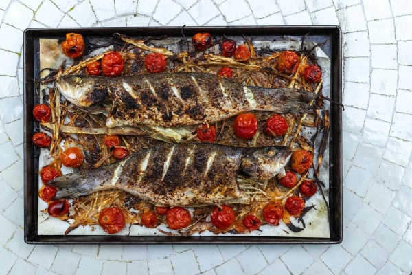 Image of Savory and Aleppo Pepper Roasted Fish with Fennel and Cherry Tomatoes