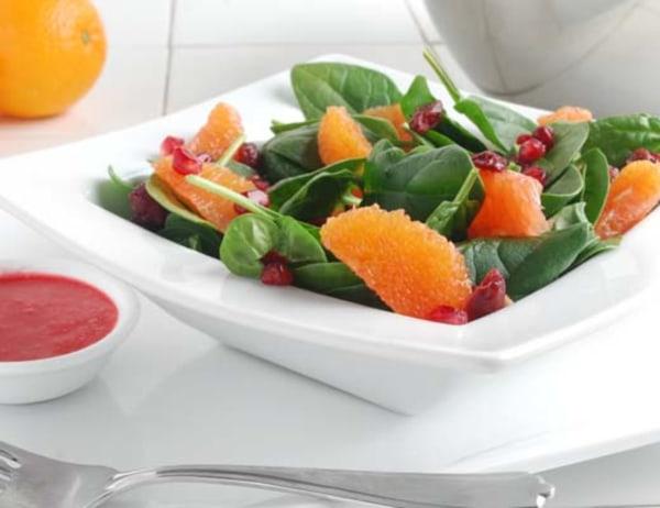Image of Pomegranate, Cara Cara Orange and Dried Cranberry Salad with Raspberry Vinaigrette