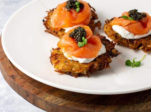 Image ofPotato Latkes with Smoked Salmon and Caviar