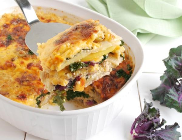Image of Potato Turnip and Kale Sprouts Au Gratin