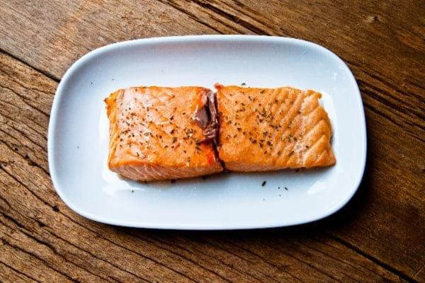 Blushing Baked Salmon with Himalayan pink salt
