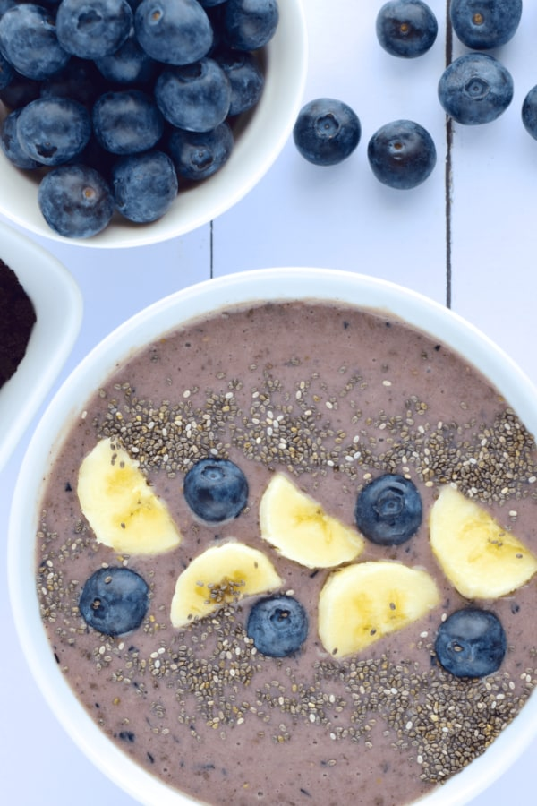 Image of Lactation Smoothie Bowl with Blueberries and Banana