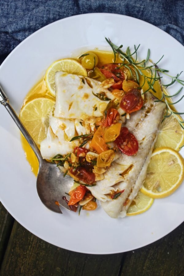 Image ofBaked Alaskan Black Cod with Lemon-Rosemary Braised Tomatoes and Roasted Acorn Squash