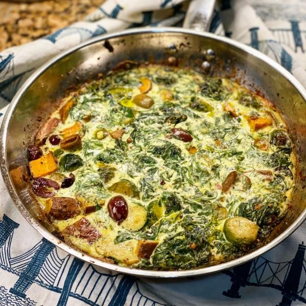 Image of Arugula, Olive, & Sweet Potato Frittata