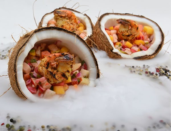 Image of Quick Crack Coconut with Grilled Shrimp and Spicy Tropical Fruit Salsa