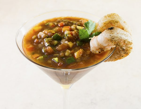 Image of Chunky Gazpacho with Grilled Shrimp