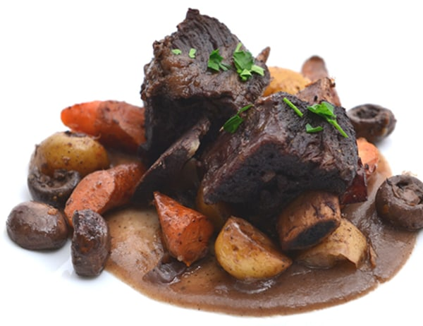 Image of Red Wine Braised Short Ribs with Baby Carrots and Baby Dutch Yellow Potatoes