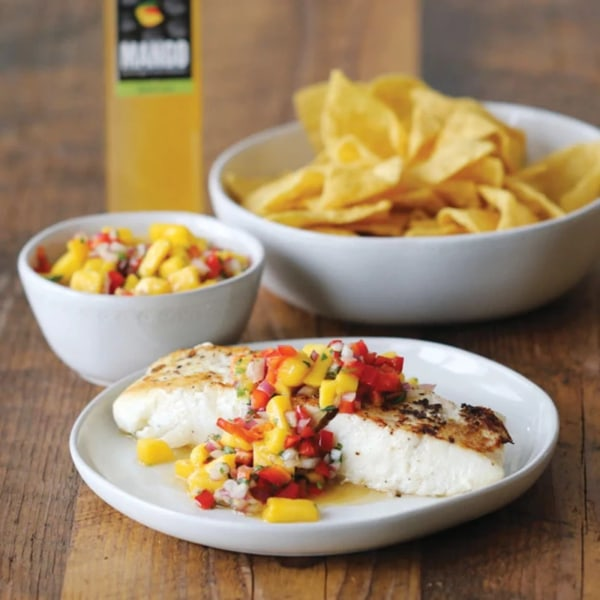 Image ofSEARED HALIBUT WITH MANGO SALSA