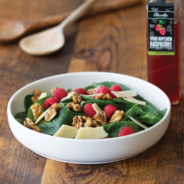 Image of RASPBERRY SPINACH SALAD WITH BALSAMIC CARAMELIZED NUTS