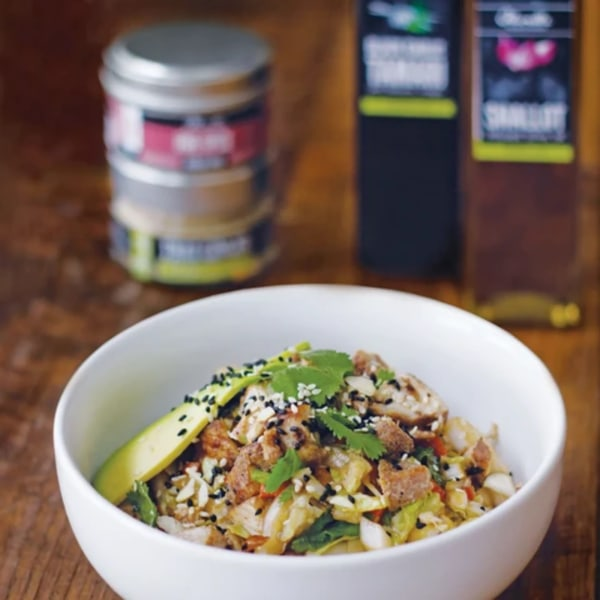 Image of FIVE SPICE CHICKEN SALAD WITH A TANGERINE BLACK GARLIC ASIAN DRESSING