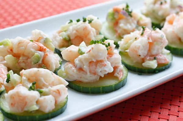 Image ofShrimp Salad on Cucumber Slices