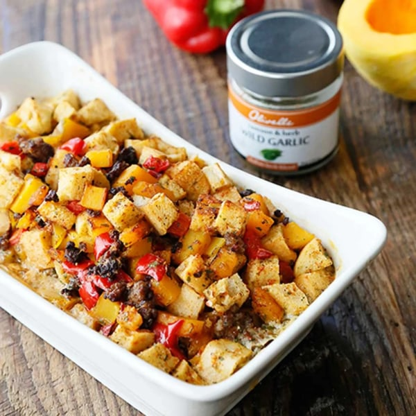 Image of SAUSAGE, SQUASH, AND RED PEPPER STUFFING