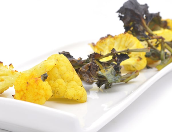 Image of Roasted Kale Sprouts and Cauliflower with Hatch Chile and Fresh Turmeric