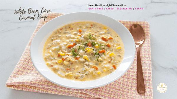 Image ofWhite Bean, Corn, Coconut Soup Recipe – Gluten-Free, Dairy-Free, Grain-Free, Paleo, Vegetarian, Vega