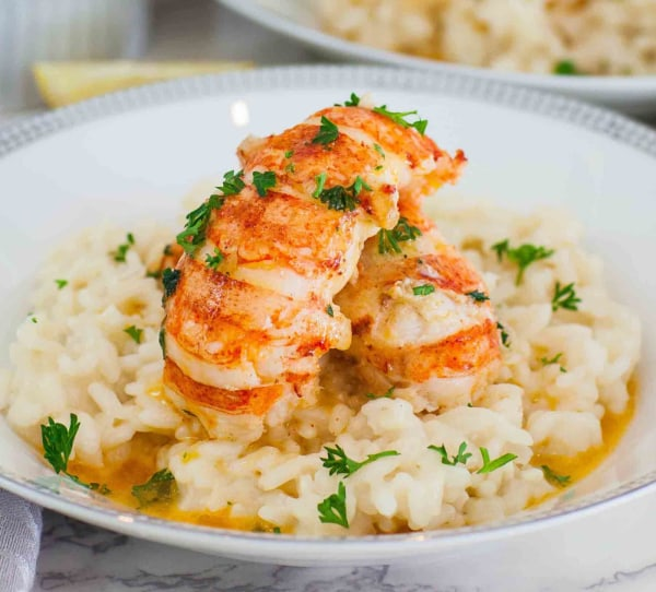 Image ofButter Poached Lobster Tails with Risotto
