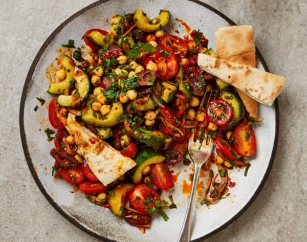 Image ofNo-Cook Salad with Tomatoes, Chickpeas + Rose Harissa