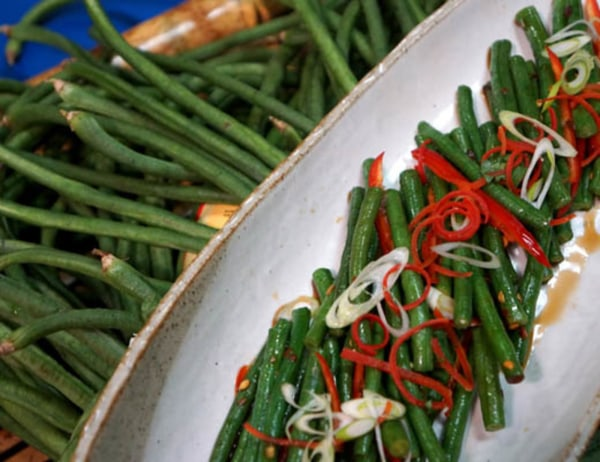 Image of  Twice Fried Long Beans with Chile and Green Onions